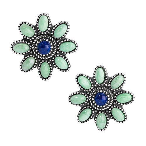 Sterling Silver, Variscite, & Lapis Clip Flower Earrings by American West