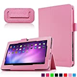 Infiland Folio Case for Alldaymall A88X 7'' Tablet, PU Leather Slim Stand Case Cover for Alldaymall A88X / Alldaymall A88S / Alldaymall A88 7-inch Quad Core Google Android 4.4 KitKat Tablet, Pink
