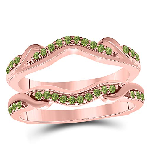 Star Retail 14k Rose Gold Plated Alloy Contoured Engagement Wedding Enhancer Ring Guard with CZ Green Peridot (0.25 ct. tw.)