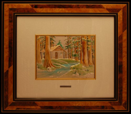Original and Signed, Hand Painted Sterling Silver and Gold Artwork Framed in Brier Wood. by ORIANI. Made in Italy