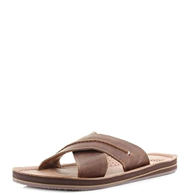 Mens O'Neill Axed Crazy Horse Leather Tan Slide Flip Flips Sandals SIZE 9
