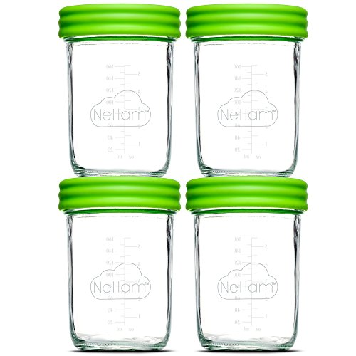 Nellam Baby Food Storage Containers - Leakproof, Airtight, Glass Jars for Freezing & Homemade Babyfood Prep - Reusable, BPA Free, 4 x 8oz Set, that is Microwave & Freezer Safe