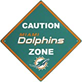 NFL Miami Dolphins Caution Wall Sign Plaque, 14″
