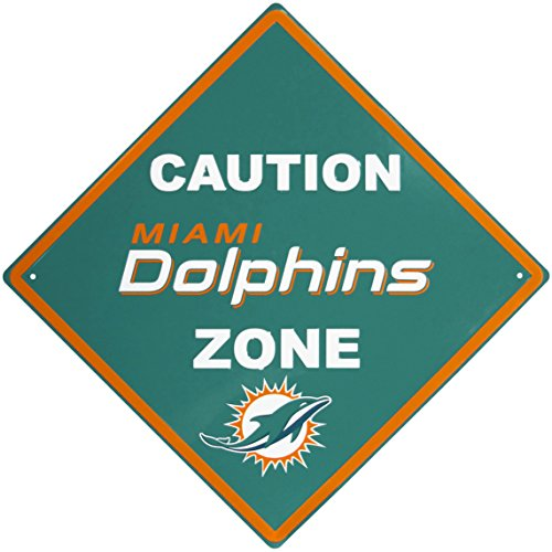 NFL Miami Dolphins Caution Wall Sign Plaque, ()
