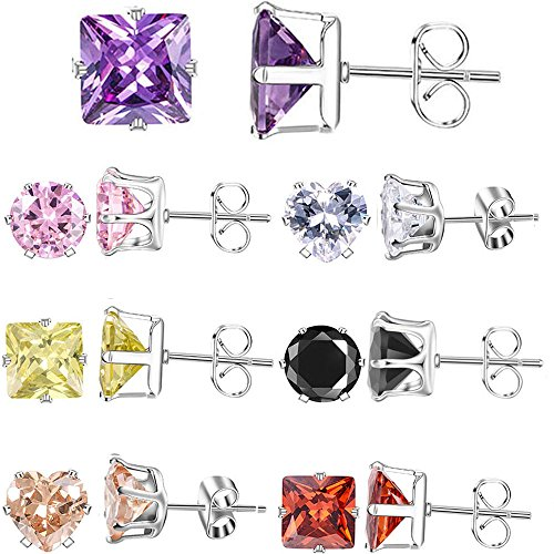 XZP Mixed Shapes Stainless Steel Studs Earrings Heart Square Round Fashion Zirconia Jewelry 7 Pairs In Set For Women Christmas Gift 5mm