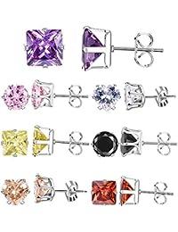 Cubic Zirconia Stud Earrings Set 7 Pair Week Use 316l Stainless Steel Earrings Gift for Women Girls