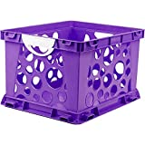 Indoor Large File Crate Storage with Handles, in Purple Color ( 3 PACK )