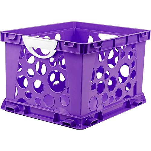 Indoor Large File Crate Storage with Handles, in Purple Color ( 3 PACK ) by Storex