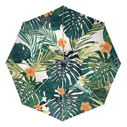 Palm Design Umbrella Base - XiangHeFu Umbrella Art Tropical Palm Leaf Flowers Plant Auto Open Close 3 Folds Lightweight Anti-UV