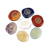 Chakra Stones,Charminer Reiki Healing Crystal With Engraved Chakra Symbols Holistic Balancing Polished Palm Stones Set of 7