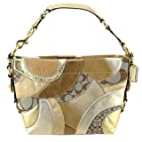 Coach 14005 Circle Mosaic Patchwork Carly Handbag Hobo Purse in Khaki and Gold