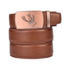 Autolock Men Texas- Buckle With Top Soft Leather Ratchet Belt -Enclosed in an Elegant Gift Box