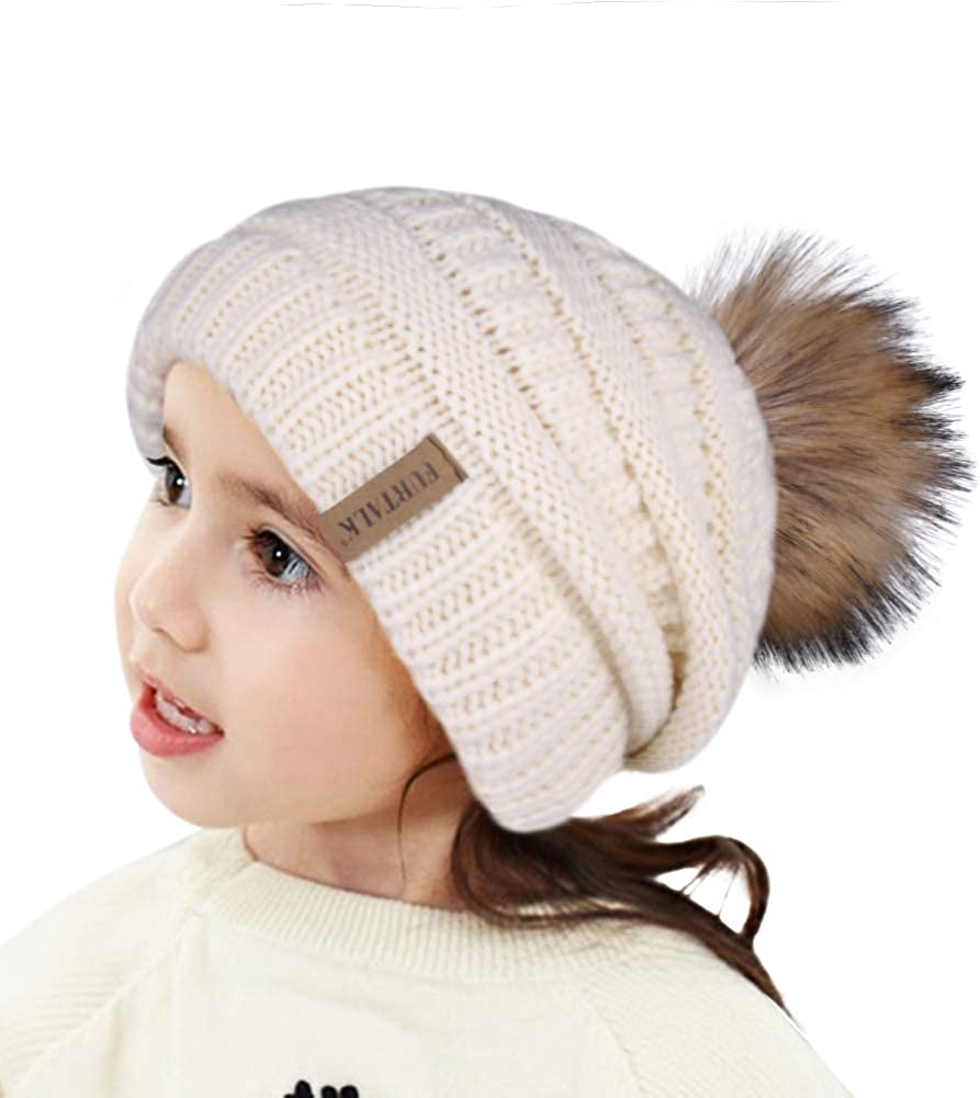 FURTALK Kids Beanie Hat Baby Toddler Winter Hats Double Layer Fleece Lined Warm Cable Knit Cap for Boys Girls