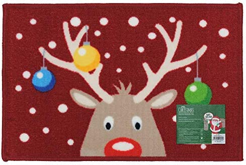 JVL Festive Christmas Machine Washable Latex Backed Door Mat, Santa Letter, Red, 40 x 60 cm