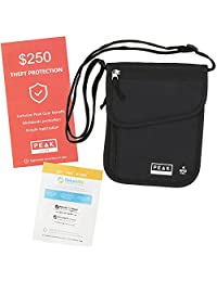 Peak Gear RFID Neck Wallet w/ Theft Insurance and Global Lost & Found Service – Convenient and Secure Holder for Your Passport, Money and Travel Documents