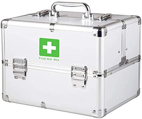 Caja grande de primeros auxilios portátil Caja de aluminio de primeros auxilios con cerradura de 3 capas Kit de almacenamiento de botiquín Gabinete de medicina Correa ajustable para el hogar, viaje: Amazon.es: