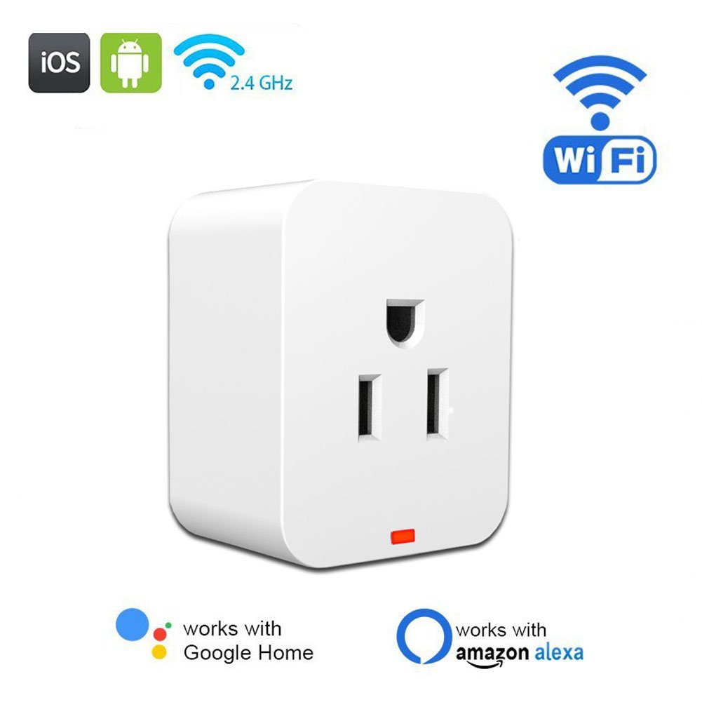 WiFi Smart Plug,POWERIVER Mini Wireless Outlet Energy Save Timing Function Socket Compatible with Amazon Alexa Control Devices from Anywhere or Anytime and No Hub Required