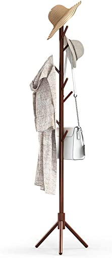 UVII Coat Rack Stand, Sturdy Wood Coat Tree with 8 Hooks, 3 Adjustable Sizes Free Standing Coat Hanger for Cloths, Jackets, Scarves, Bags in Home, Office, Entryway and Hallway, Dark Walnut
