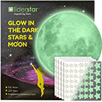 Glow in The Dark Stars and Free Removable Full Moon Wall...