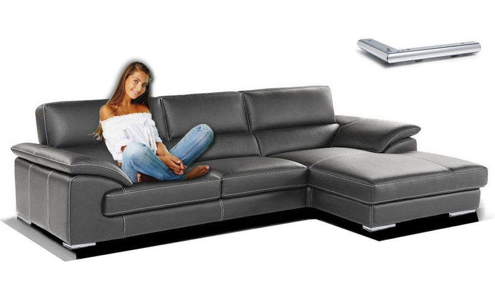 Sofa Eck Moderne Class, Leder geschliffen Poltrona con una spalliera reg. - 140x86x100cm Pelle Smerigliata Beige