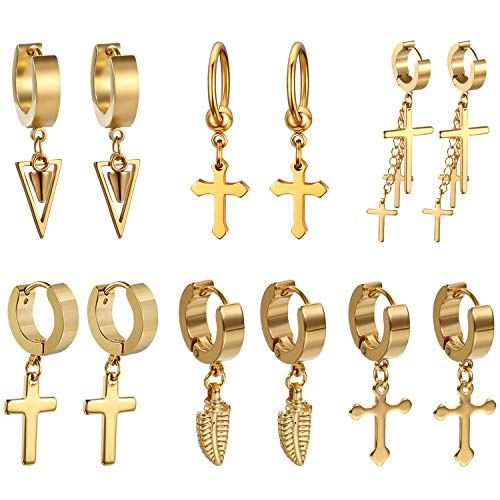 Golden George 6 Pcs Unisex Cross Stud Earring Set Dangle Hinged Hoop Earrings Gold Stainless Steel Punk Hip-hop Ear Piercing Earrings for Women Men Gilrs Teen, Hypoallergenic ()