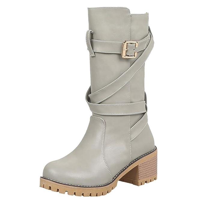 Moda Calzado Zapatos Invierno Mujer Medio Planos Ancho tacón Botines Botas de Cuero de Tubo Medio