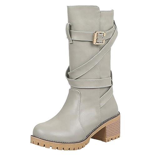 59b889fd16291 CIELLTE Chaussures Bottines Femme Hiver Boots Mi-Longue Bottes de Neige  Plate-Forme Étanche