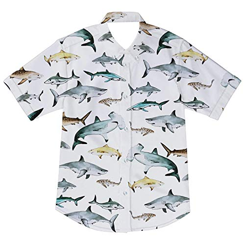 Boys Children White Button Down Sports Shark Shirt Uniform Animal Cute Wedding Party Outfits Funny Blouse Tee Top 3-4T