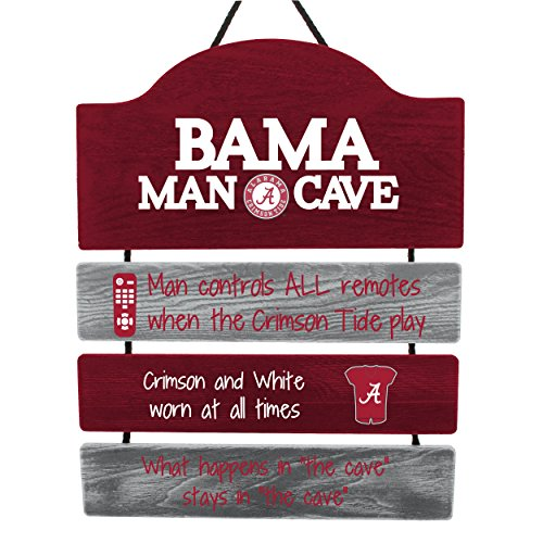 Alabama Sign Tide Crimson - FOCO NCAA Alabama Crimson Tide Mancave Sign, Team Color, One Size