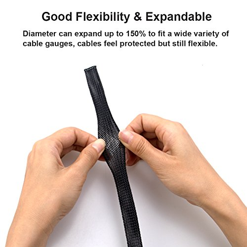 100ft -1/4 inch Flexible PET Expandable Braided Cable Sleeve, Premium Wires Sleeving Management and Organizer, Protector for TV, Audio, PC, and other Home or Office Device Cords by MILAPEAK (Black) by MILAPEAK (Image #1)