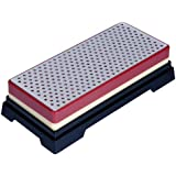 Ansen Tools Grit Sharp AS-409 6-Inch Double-Sided Extra Wide Diamond Whetstone Sharpener Coarse/Fine in Compact Case with Non-Skid Rubber Base