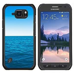 Caucho caso de Shell duro de la cubierta de accesorios de protección BY RAYDREAMMM - Samsung Galaxy S6Active Active G890A - Azul océano y el cielo