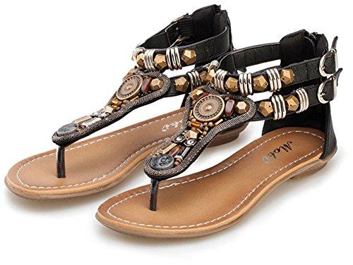 Perle Bijoux Brun Noir Femmes Ethnique Fête wealsex Plage Noir Mariage Bohèmes Sandales Spartiate Toe de Chaussures Soirée Clip Vacances Rétro Plates qgTtwAB