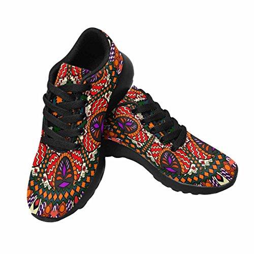 Scarpa Da Jogging Leggera Da Donna Da Running Jogging Leggera Andare Easy Walking Scarpe Da Ginnastica Sportive Modello Stile Etnico. Texture Decorativa Vintage Multi 1
