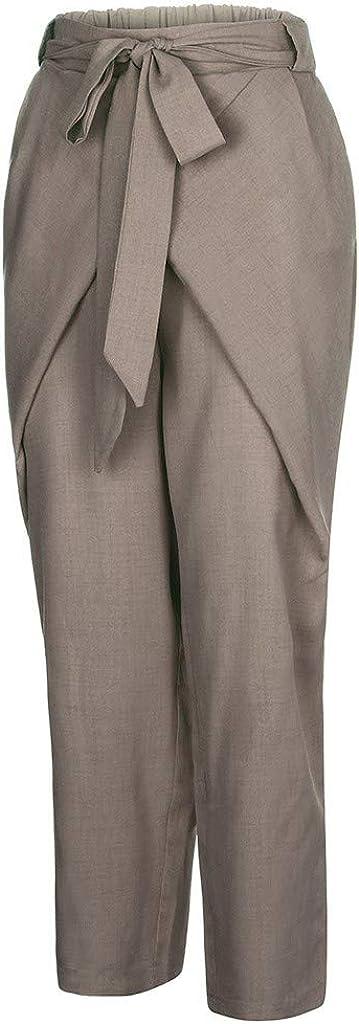 UOFOCO Casual Pocket Bandage Pants Women Loose Plus Size Pure Color Linen Trousers
