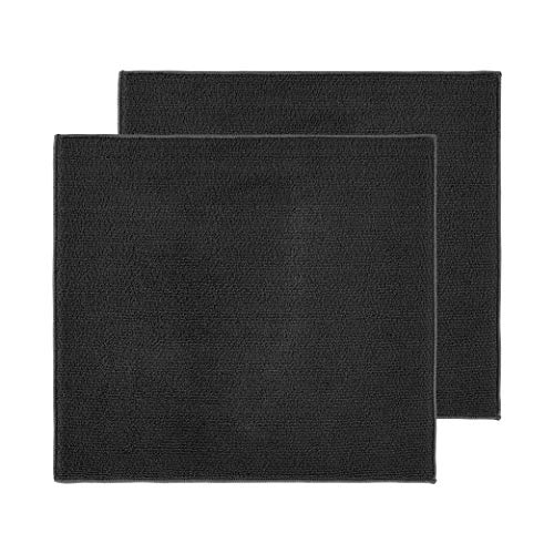 LUCKISS Dish Drying Mat Polyester Absorbent Machine Washable Fast Drying Pad Dish Drainer Mat For Kitchen Counter 2 Packs (Black, 16 x 18 inches)