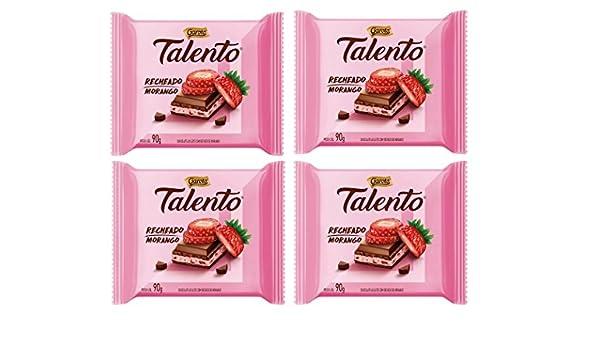 Amazon.com : GAROTO Talento Chocolate 90 gr. each - PACK of 4. (Chocolate Recheio Morango, 4 Pack) : Grocery & Gourmet Food