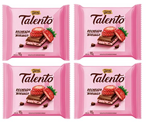 Amazon.com : GAROTO Talento Chocolate 90 gr. each - PACK of 4. (Chocolate Recheio Morango, 4 Pack) : Grocery & Gourmet Food