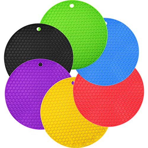 Boao 6 Pieces Silicone Trivets Mat, Hot Pad Mat, Pot Holder, Spoon Rests and Jar Gripper Pads (Color A, Style A) ()