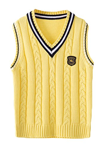 ezShe Boys V Neck Sleeveless Pullover Cable Kinted School Sweaters, Yellow  ,9-11 Years -