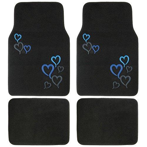 BDK Love Story Blue Design Carpet Floor Mats for Car SUV - 4 Piece Set, Blue, Licensed Prodcuts, Secure Backing
