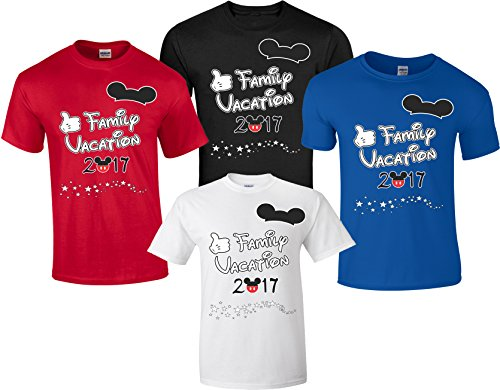 Disney Family Vacation T-Shirts Matching Cute Mickey T-Shirts (Blue, XL Adult) (Best Time To Go To Florida Disney World)