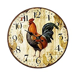 Wood Wall Clock, SkyNature Vintage Rustic Colorful Retro Style Arabic Numerals Design Non -Ticking Silent Quiet Wooden Clock Gift Home Large Decorative for Room Wall Art Decor (14 in, rooster)