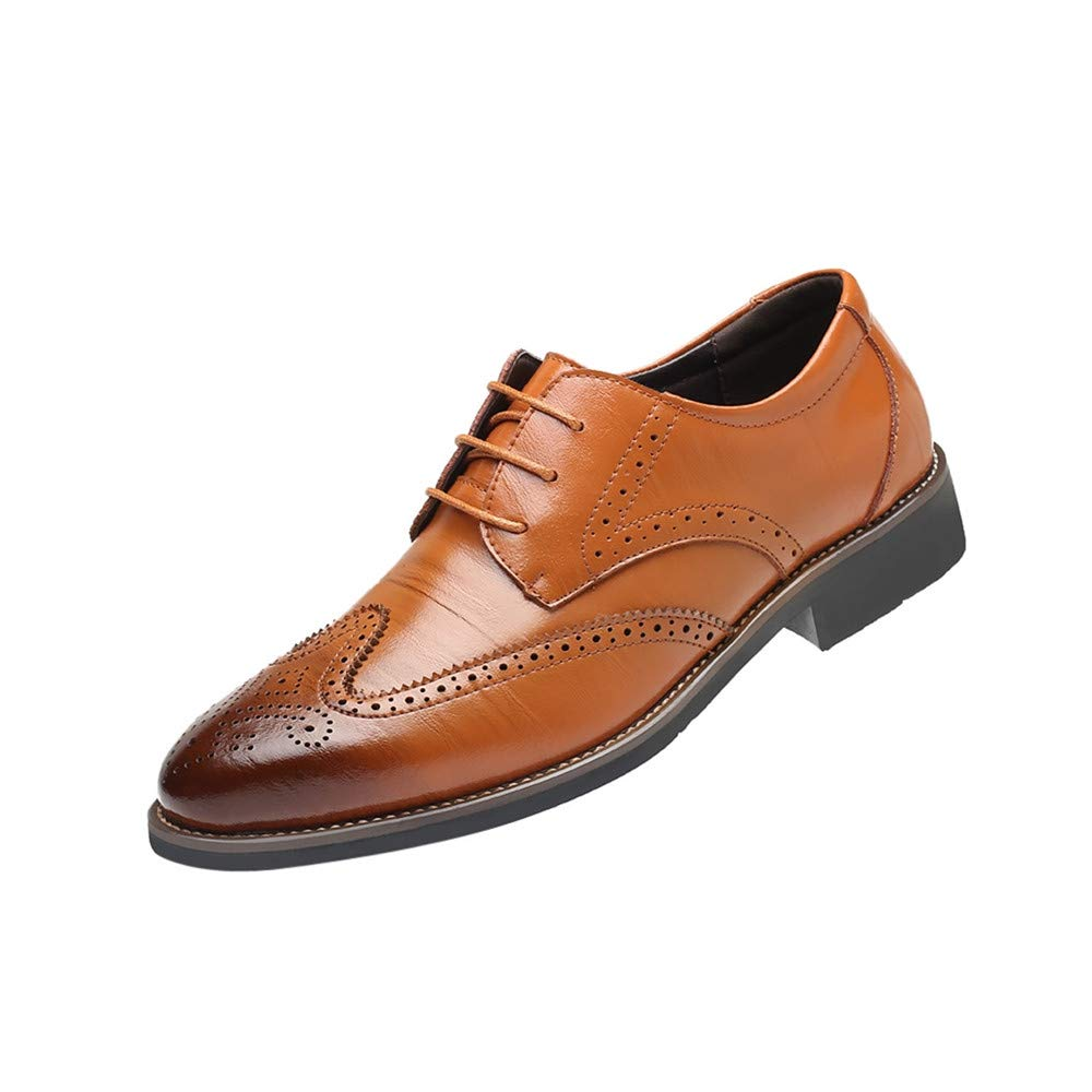 ONLY TOP Men's Slip On Loafers Business Casual Comfortable Classic Leather Dress Shoes for Men Brown