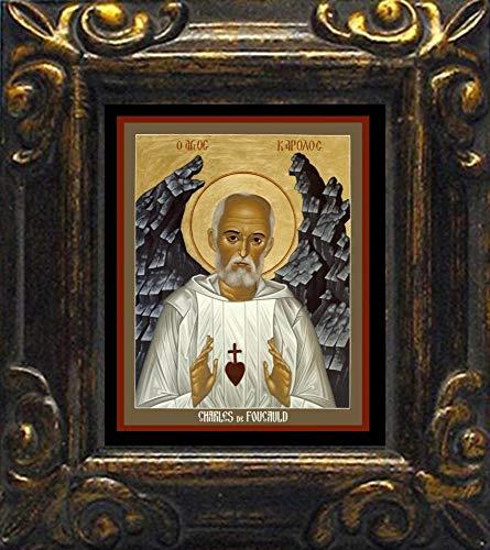 Trinity Stores Mini Magnet Framed Religious Art Print - Antique Black-3¾x4¼ - Bl. Charles de Foucauld by Br. Robert Lentz, OFM