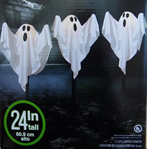 3 Cloth Ghost Lawn Stake Path Lights Halloween Yard Decoration 24 Inches Tall (1, White) (Halloween Yard Decorations Ghosts)