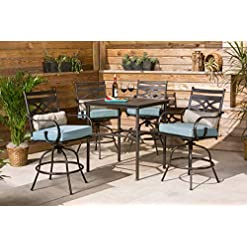 Garden and Outdoor Hanover MCLRDN5PCBR-BLU Montclair 5-Piece High-Dining Patio Set in Ocean Blue with 4 Swivel Chairs Outdoor Furniture patio dining sets