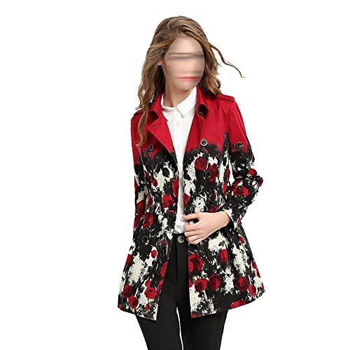 Sra. De La Moda De Impresión Slim Y Largas Secciones Chaqueta Rompevientos Rojo Multi-tamaño,Red-m