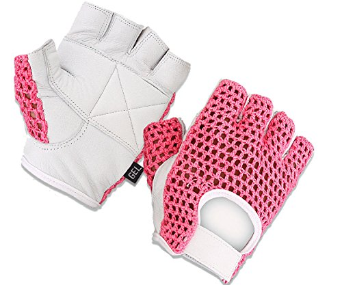 Gel Padded Leather Gym Gloves Fitness Cycling Weight Lifting Sports Wheelchair Pink/white W-1024 (X-SMALL)