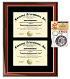 Double College Diploma Frame Two University Degree Plaque Framing Satin Matte Mahogany with Gold Trim Graduation Document Holder Gift